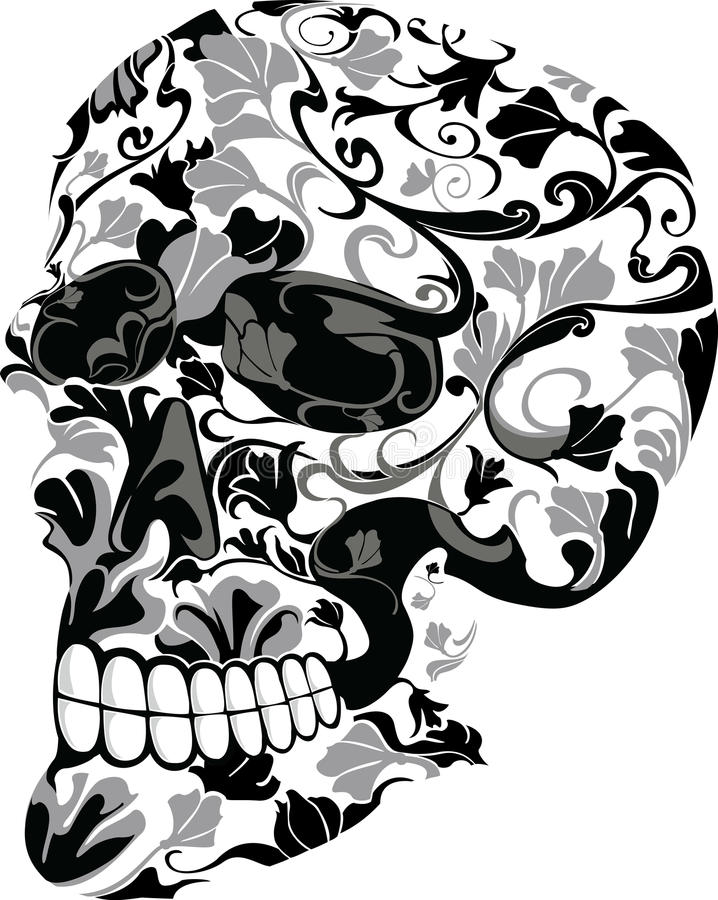 Download Floral skull stock vector. Image of floral, gothic, dead - 10089330