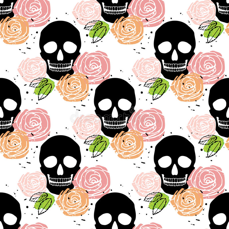 Floral skull seamless pattern vector illustration
