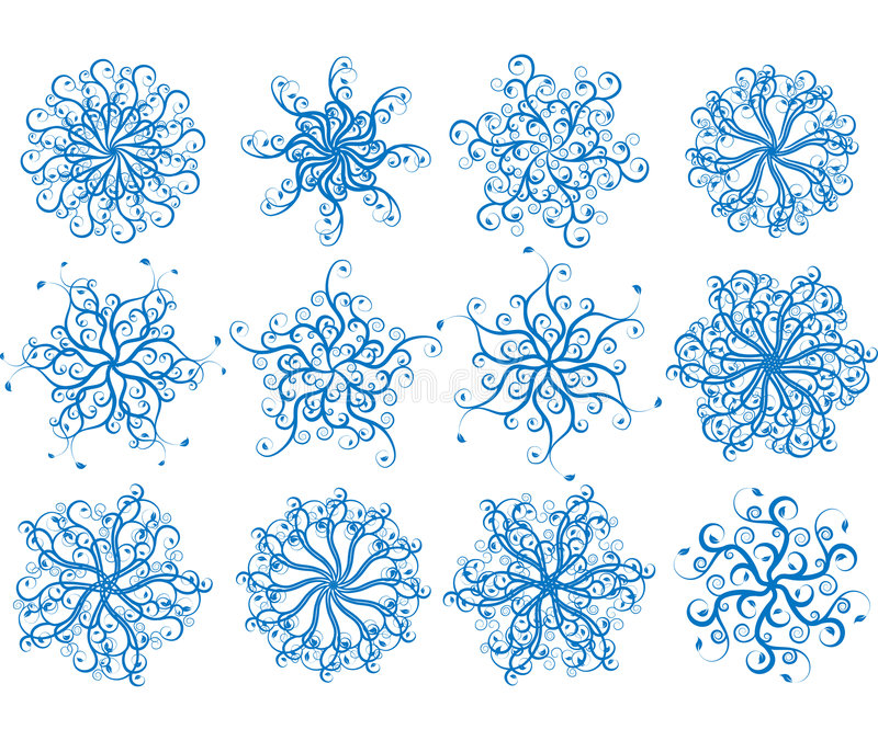 Download Floral snowflakes, vector stock vector. Image of celebration - 1303168