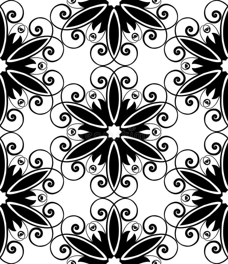 Floral spiral black white stock illustration