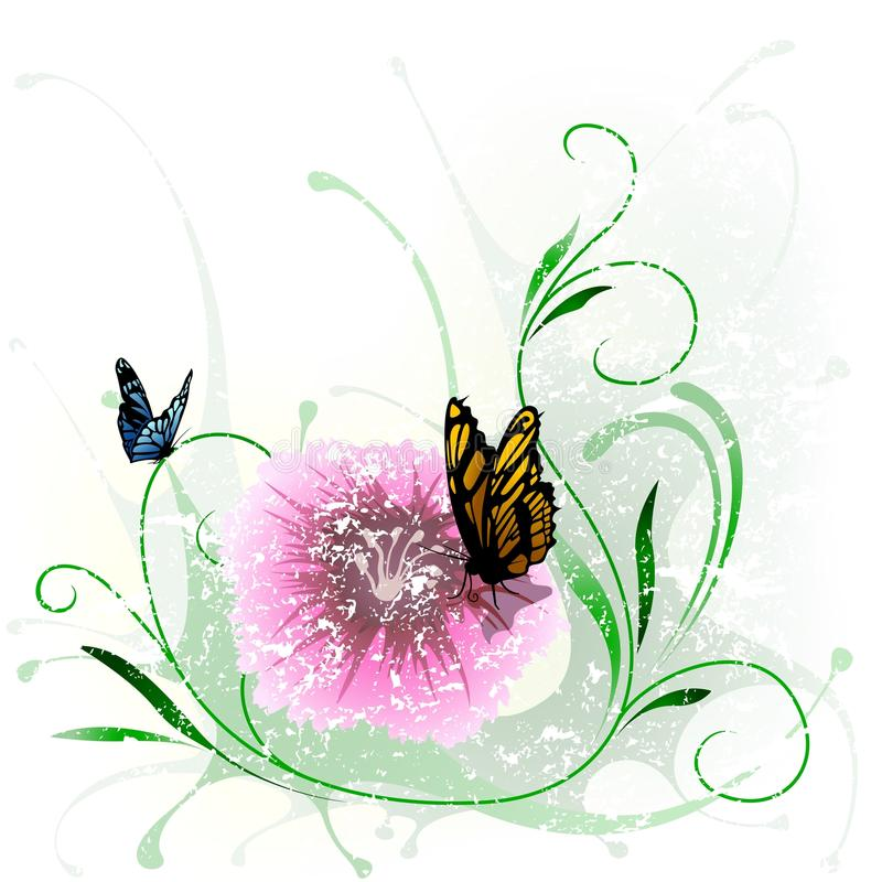 Floral Splash And Butterfly Stock Image