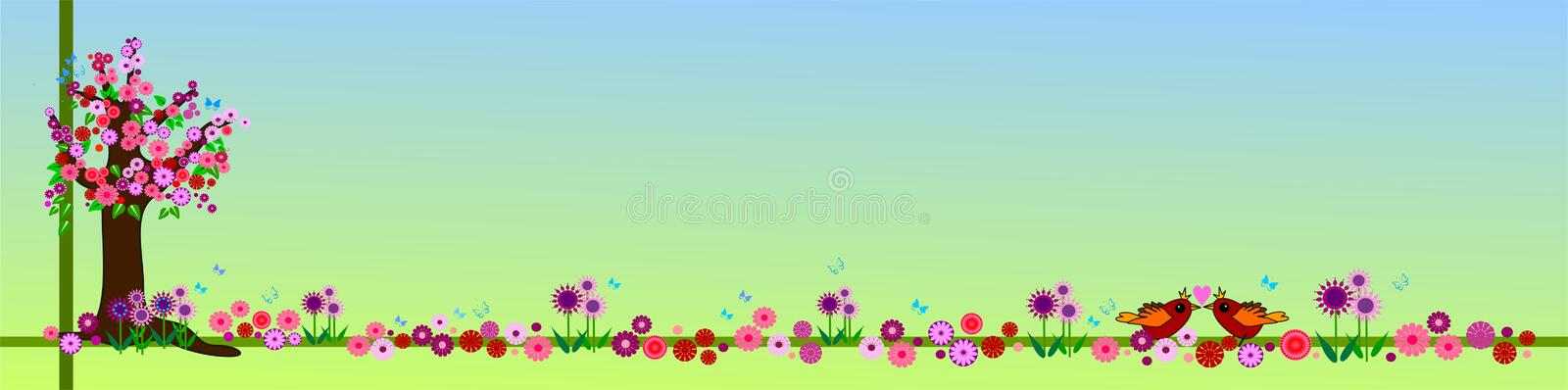 Floral spring banner. Spring banner / header / background with a little blooming tree and lots of spring flowers. Around are swirling butterflies and between the vector illustration