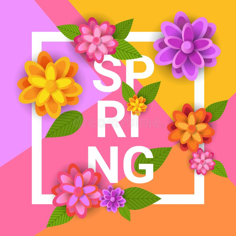 Floral Spring Graphic Design With Colorful Flowers In Frame On Bright Background stock illustration