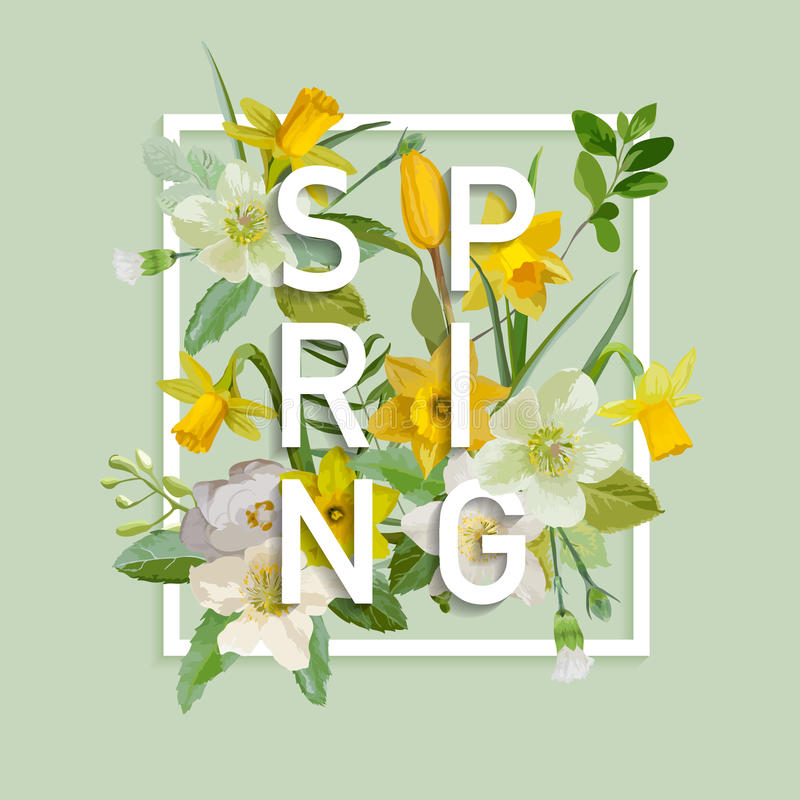 Free Floral Spring Graphic Design - With Narcissus Flowers Royalty Free Stock Images - 69631779