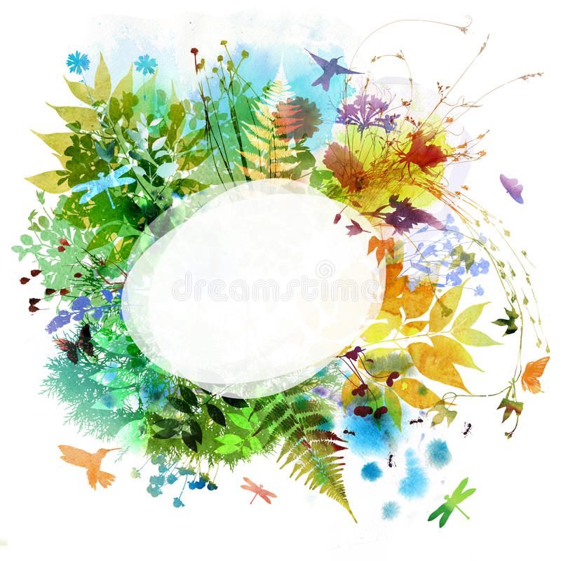 Floral spring and summer design, watercolor painting vector illustration