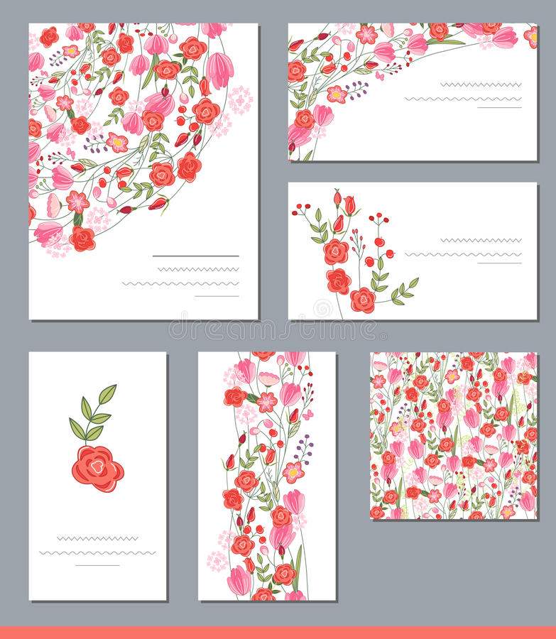 Floral spring templates with cute bunches of red roses and other flowers. royalty free illustration