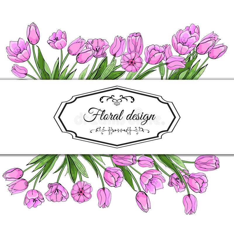 Floral spring templates of hand drawn pink tulips. Elements for romantic and easter design, announcements, greeting cards,posters. Floral spring templates of stock illustration