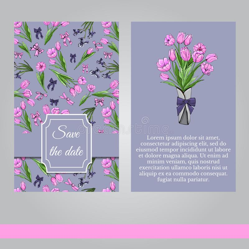 Floral spring templates of hand drawn pink tulips and violet irises. Elements for romantic design, announcements, greeting cards. Floral spring templates of vector illustration