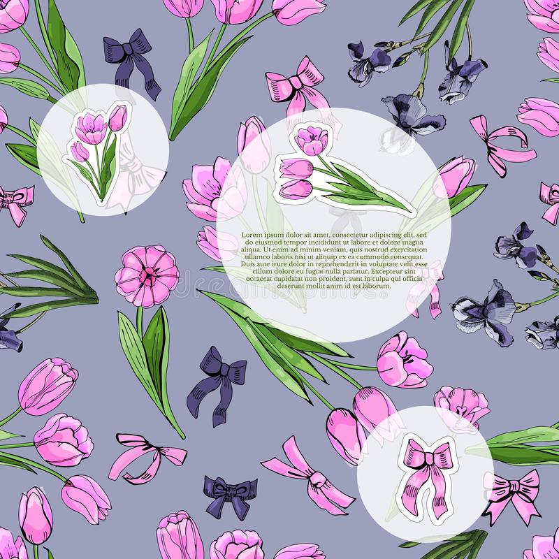 Floral spring templates of  hand drawn pink tulips and violet irises. Elements for romantic design, announcements, greeting cards, posters, advertisement royalty free illustration