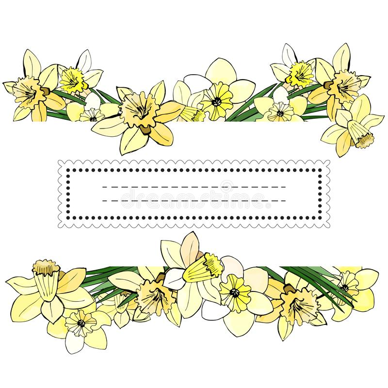 Floral spring templates of hand drawn yellow narcissus. Elements for romantic and easter design, announcements, greeting cards. Floral spring templates of hand royalty free illustration