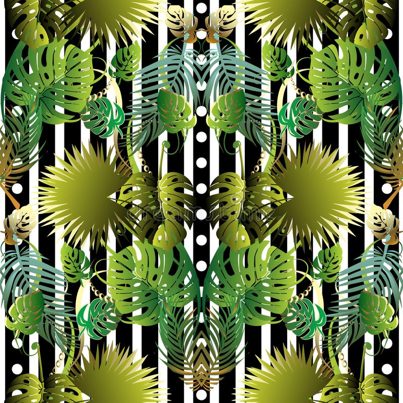 Floral striped vector seamless pattern. stock illustration