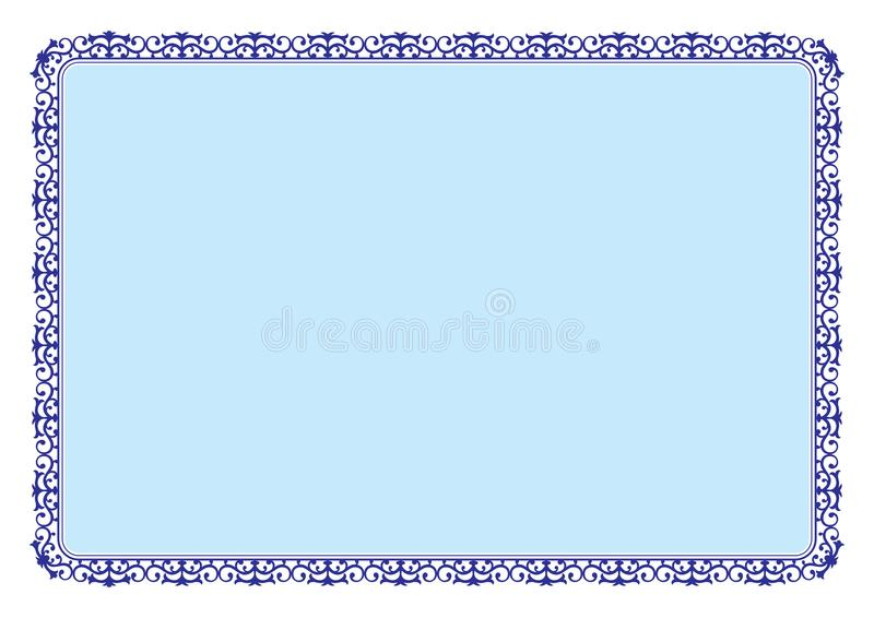 Floral style blue frame for certificate or book page border royalty free stock photos