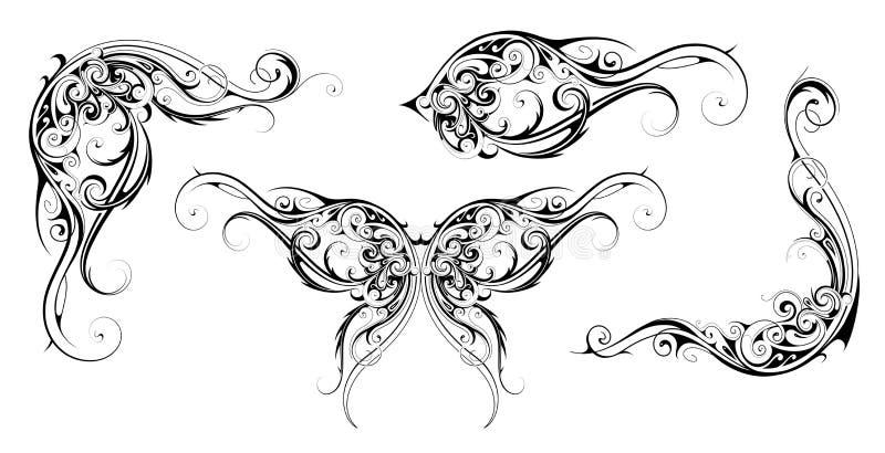 Floral style design elements royalty free illustration