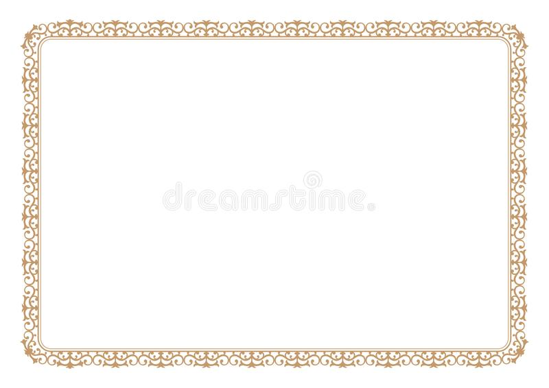 Floral style gold frame for certificate or book page border royalty free illustration