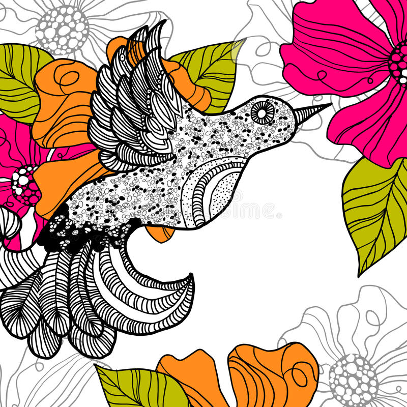 Floral summer background. Bird royalty free illustration