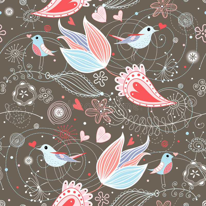 Download Floral Summer Pattern With Birds Royalty Free Stock Photos - Image: 18595928