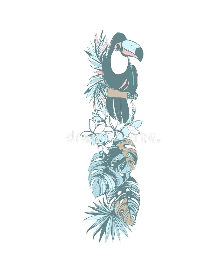 Summer pattern hand drawn letter I palm leaves, flowers, birds. Floral summer pattern hand drawn ornamental letter I with palm beach leaves, flowers, toucan stock illustration