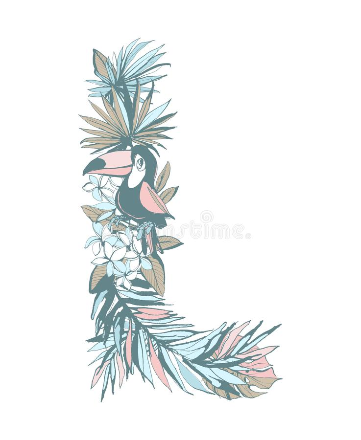Summer pattern hand drawn letter L palm leaves, flowers, birds. Floral summer pattern hand drawn ornamental letter L with palm beach leaves, flowers, toucan royalty free illustration