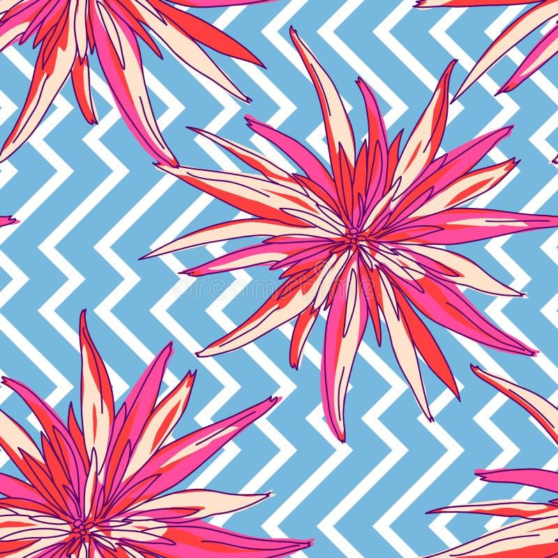 Floral summer seamless background. Flowers chrysanthemum stock illustration