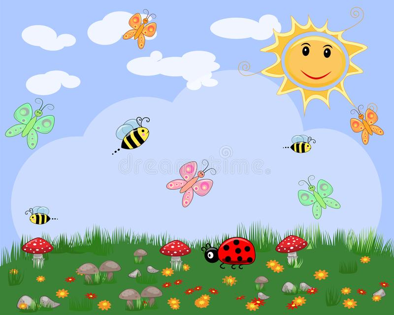 Floral summer or spring landscape, meadow with flowers, a blue sky and butterflies. Floral summer or spring landscape, meadow with flowers, blue sky and vector illustration