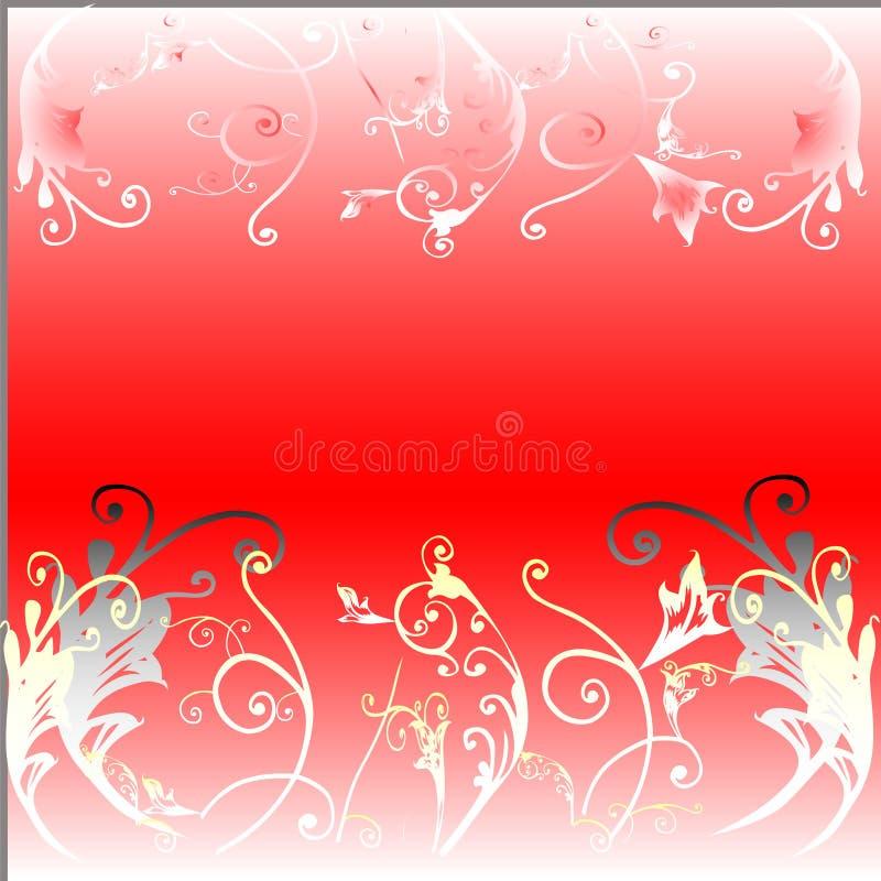 Floral sur le fond rouge illustration de vecteur