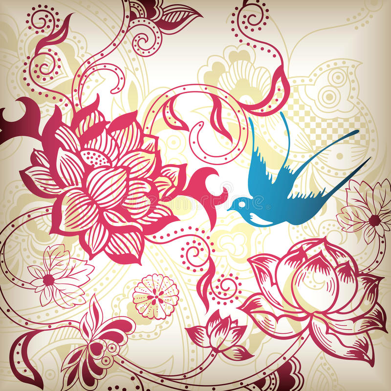Floral and Swallow royalty free stock images