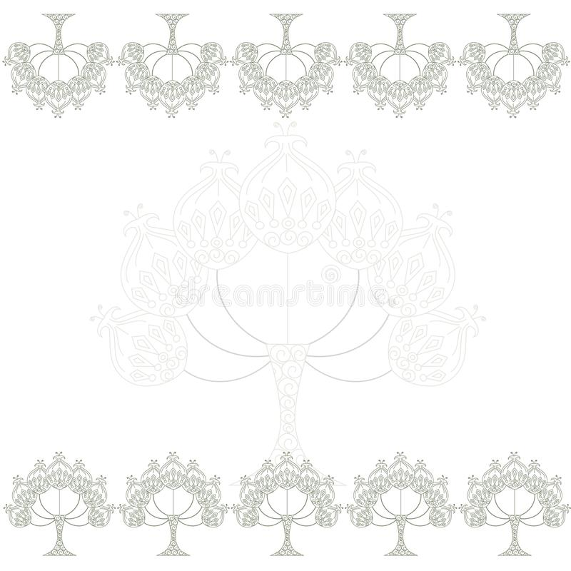 Floral symmetrical background with stylized ethnic grey trees on white. Stock vector illustration stock illustration