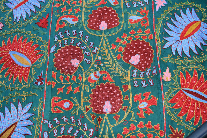 Floral Tapestry Wall Hanging in Israel. Red, Blue and Green Tapestry wall hanging found in Jerusalem, Israel stock image