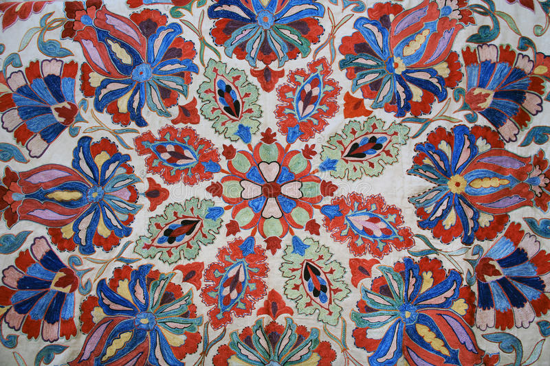 Floral Tapestry Wall Hanging in Israel. Red, White, Blue and Green Tapestry wall hanging found in Jerusalem, Israel stock photography