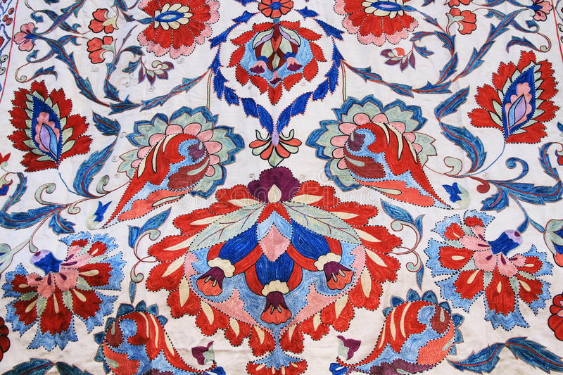 Floral Tapestry Wall Hanging in Israel. Red, White, Blue and Green Tapestry wall hanging found in Jerusalem, Israel stock photo