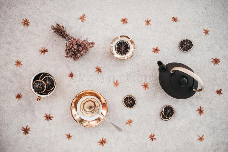 Floral tea composition stock images