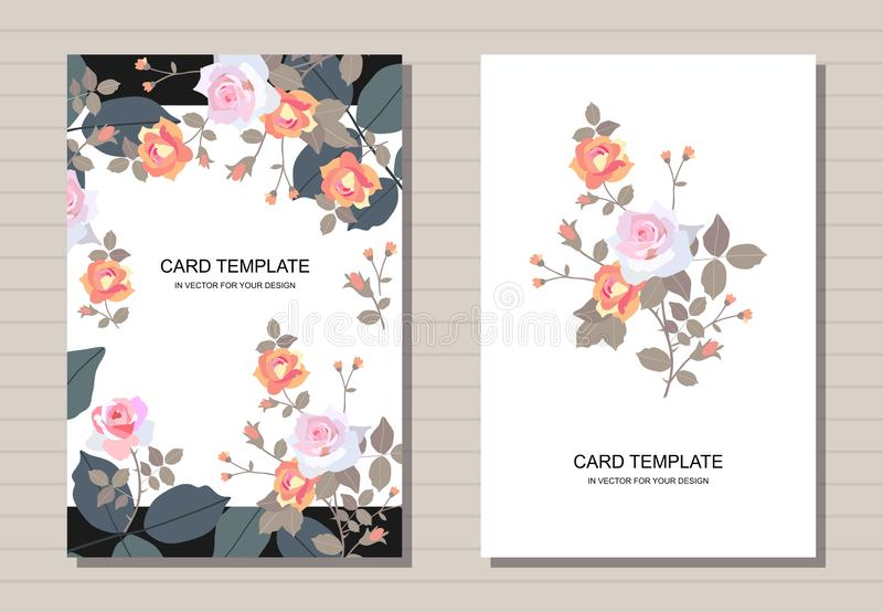 Floral template design for wedding and greeting cards. Beautiful rose flowers in vintage style royalty free illustration