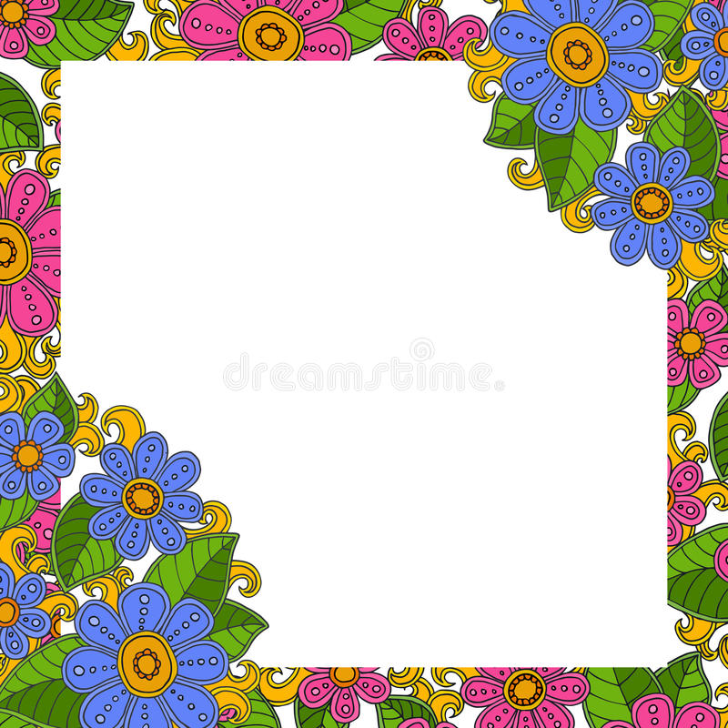 Floral template vector. Frame for your photo or text with flower. vector illustration