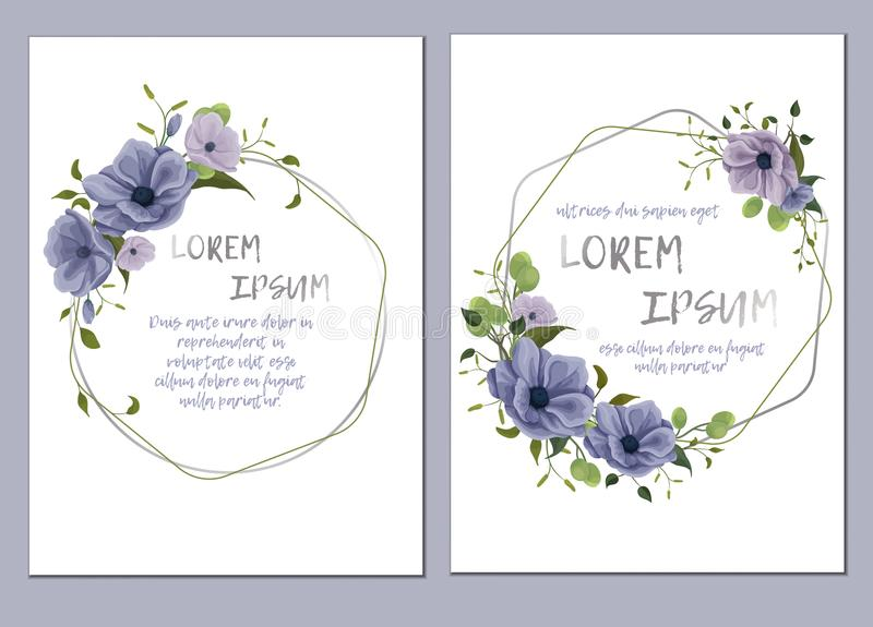 Floral template for wedding invitation. Template of the wedding invitation, cards. Imitation of watercolor. Design of flowers, twigs, foliage, grass. Delicate stock illustration