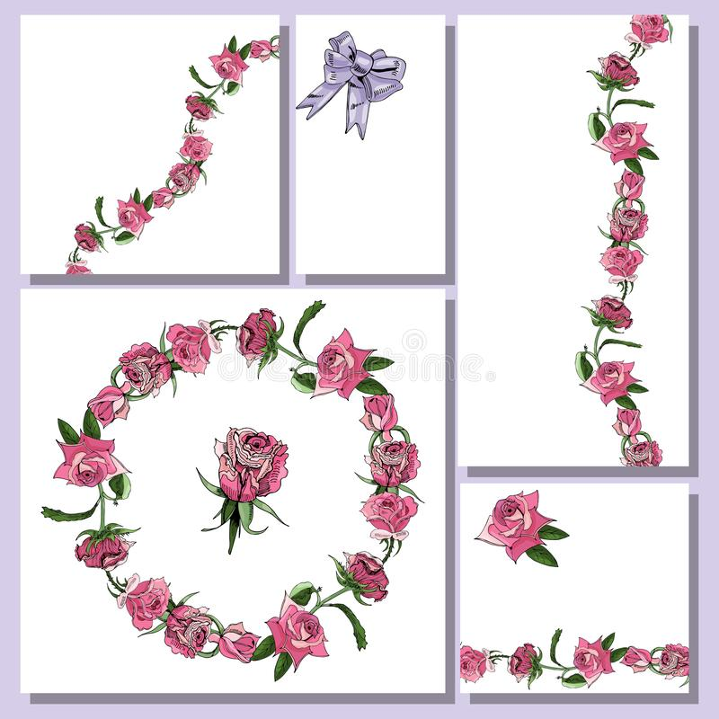 Floral templates with hand drawn bunches of pink rose flowers and lilac bow. Elements for romantic design, announcements,. Greeting cards, posters stock illustration