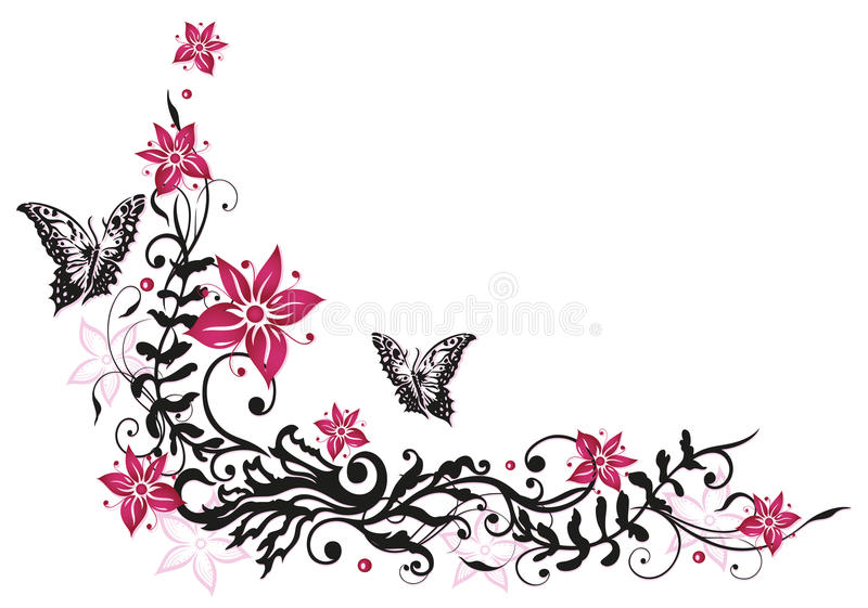 Floral Tendril, Flowers, Butterflies Stock Images