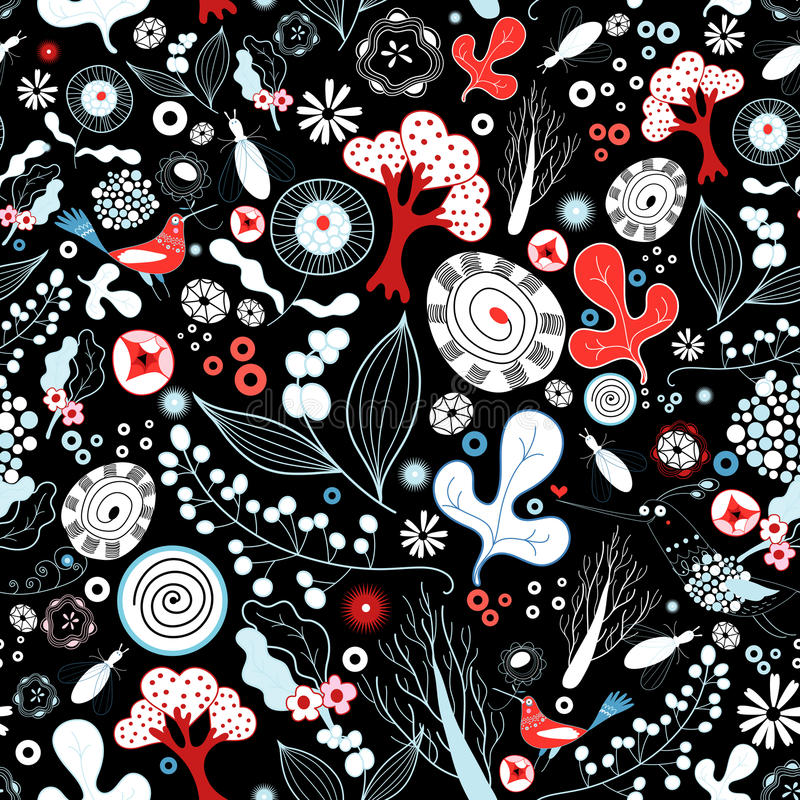 Floral texture with birds stock illustration