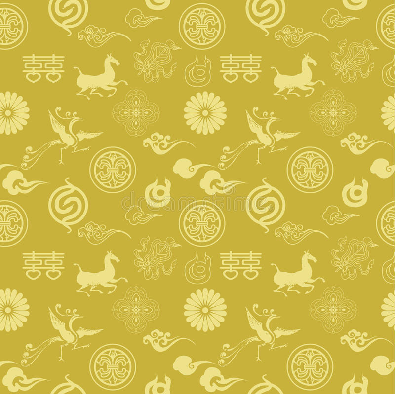 Download Floral Texture With Chinese Icons Stock Photography - Image: 29058612