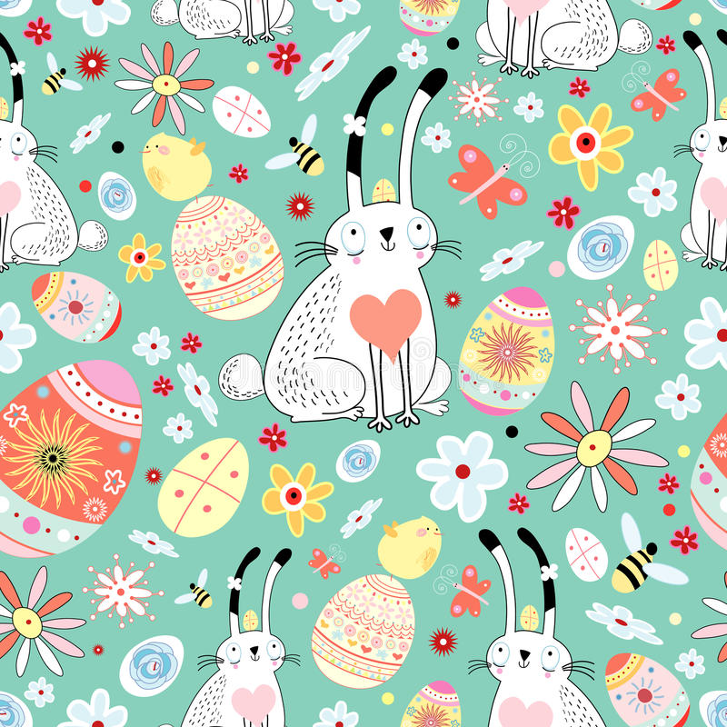 Floral texture Easter bunnies and chicks vector illustration