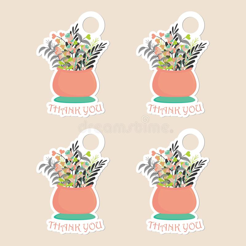 Thanks tag set vector design template with flowers` vase stock image