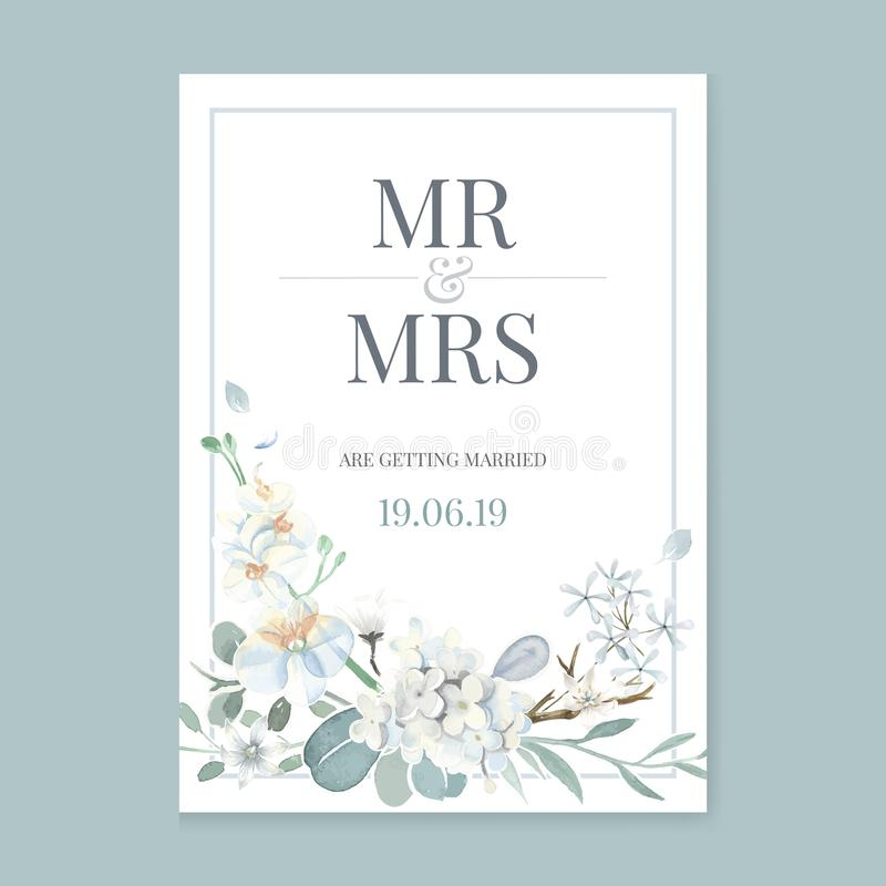 Floral themed card with green background royalty free illustration
