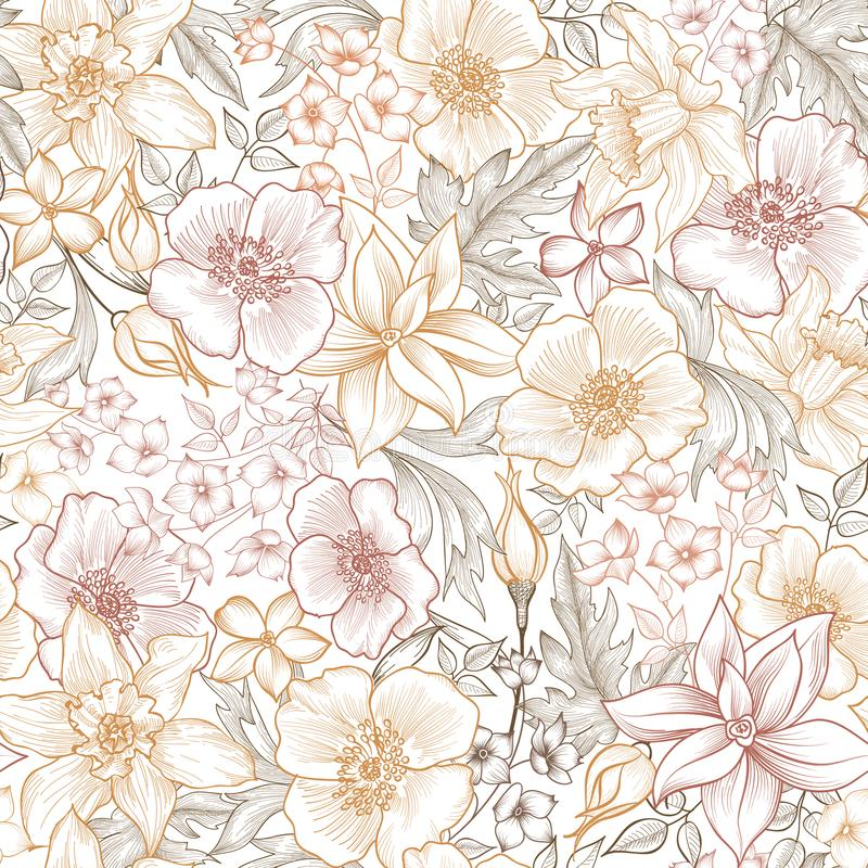 Floral tile pattern. Flower background. Garden texture stock photos