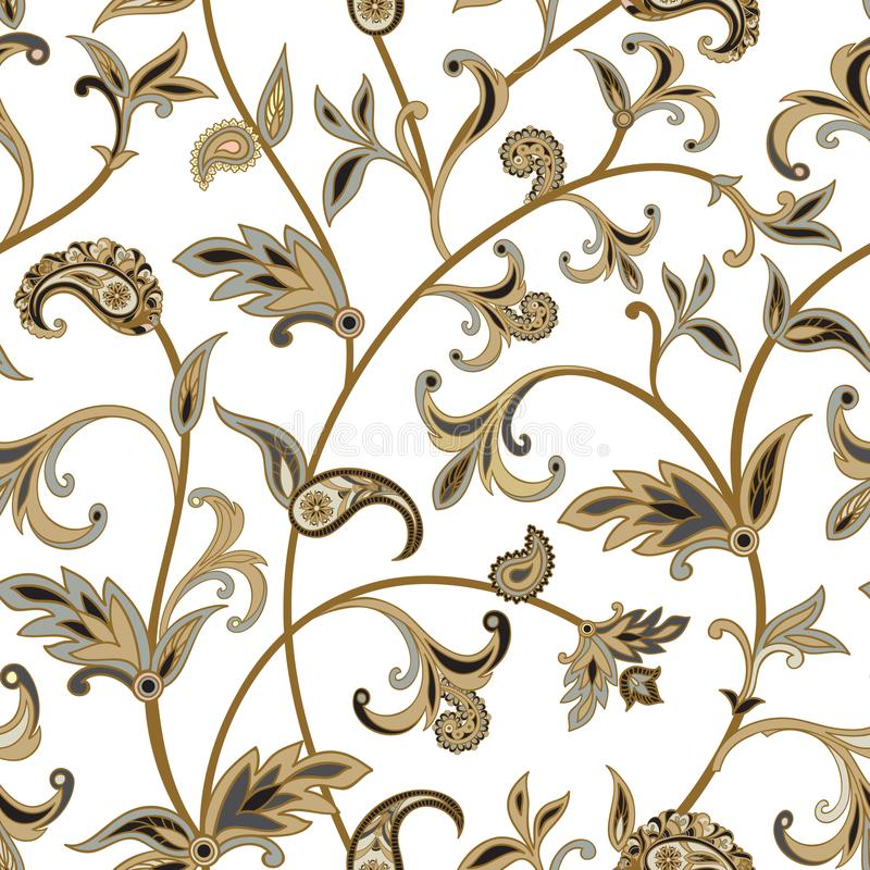 Floral tiled pattern. Flourish oriental background. Ornament wi royalty free illustration