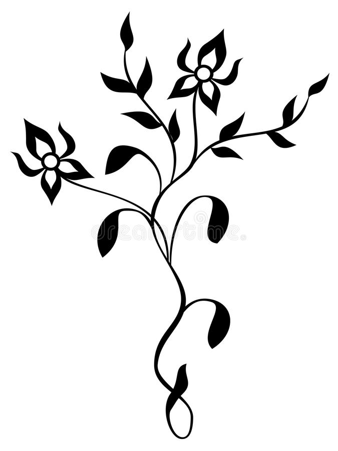 Floral Tracery - Black Vector Illustration Stock Image