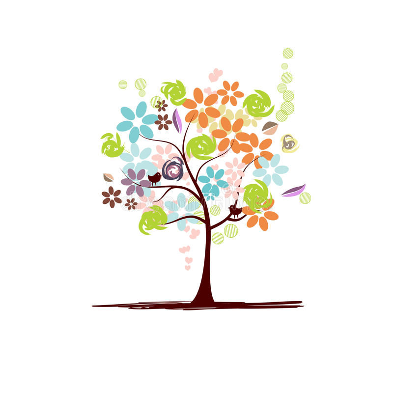 Floral tree beautiful stock illustration