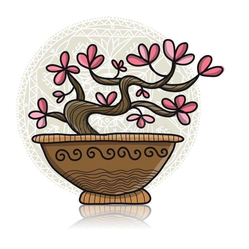 Floral tree in pot, asian style. Vector illustration vector illustration