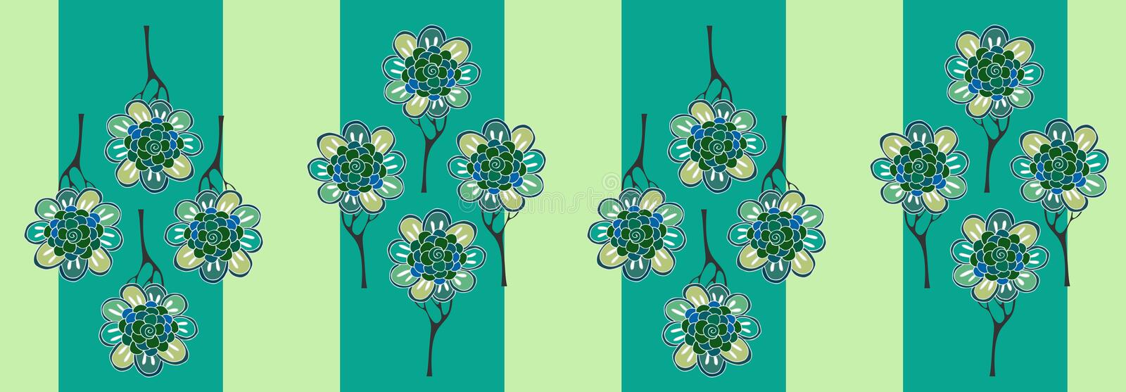 Floral trees on striped background. Summer vector illustration.  royalty free illustration