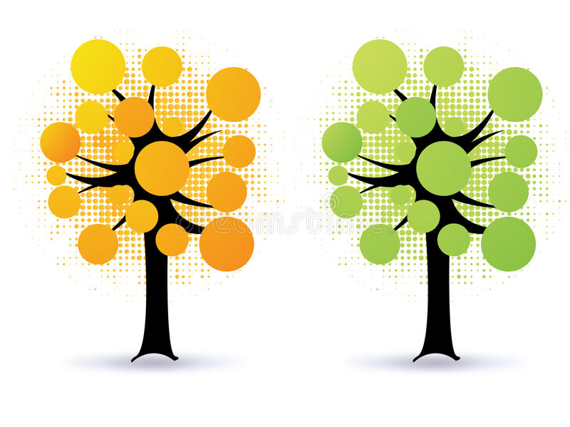 Floral trees - vector stock illustration