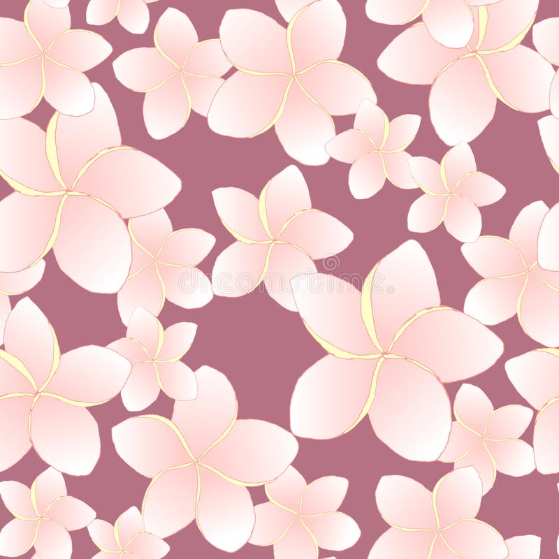 Floral tropic desin seamless pattern. Pink frangipani flowers on purple background. stock illustration