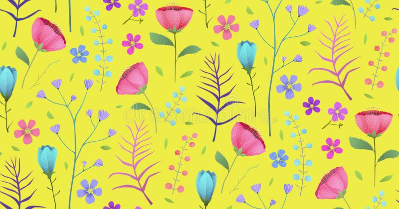 Floral Tropical Bright Flowers on Yellow Seamless Pattern Background royalty free illustration